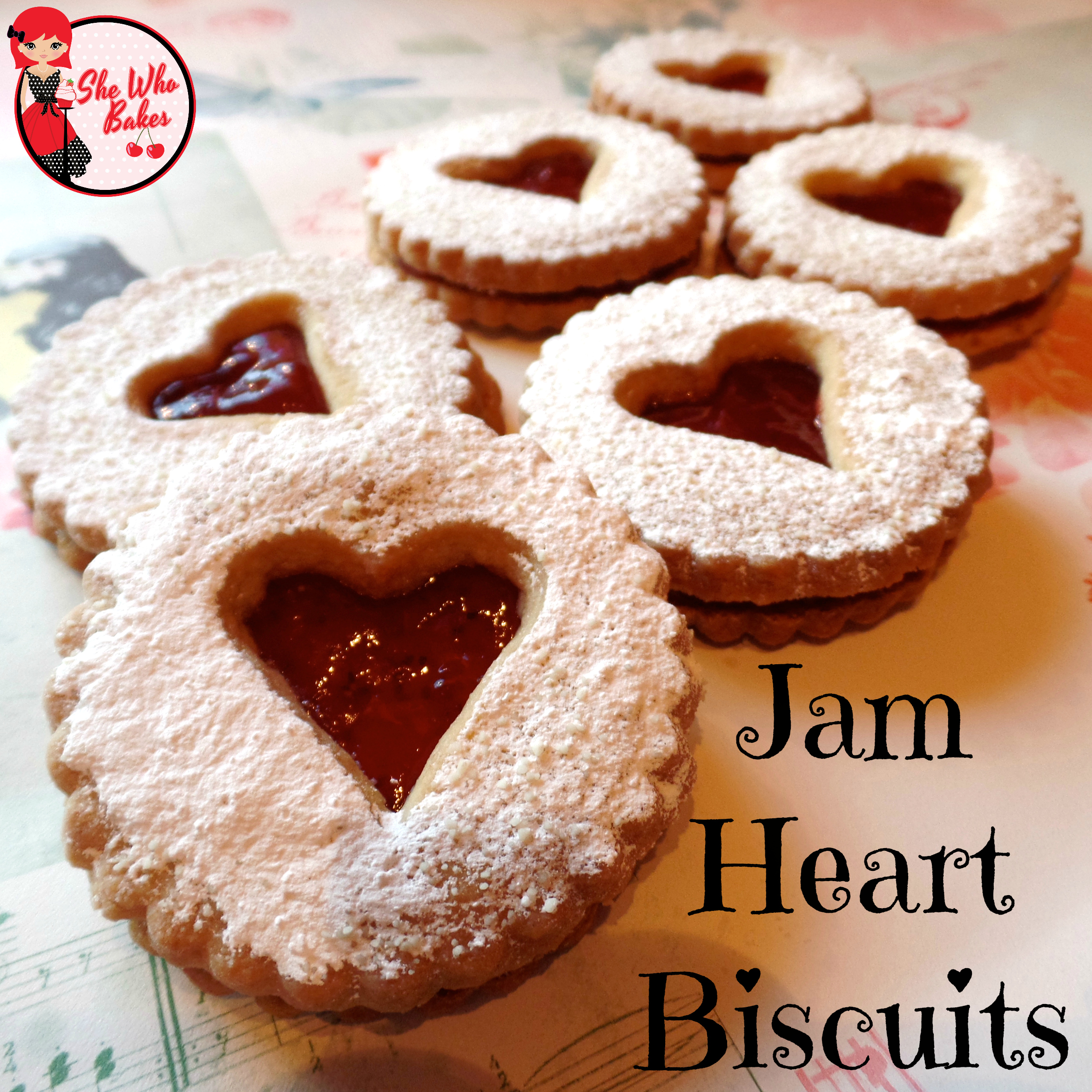 Jam Heart Biscuits - She Who Bakes