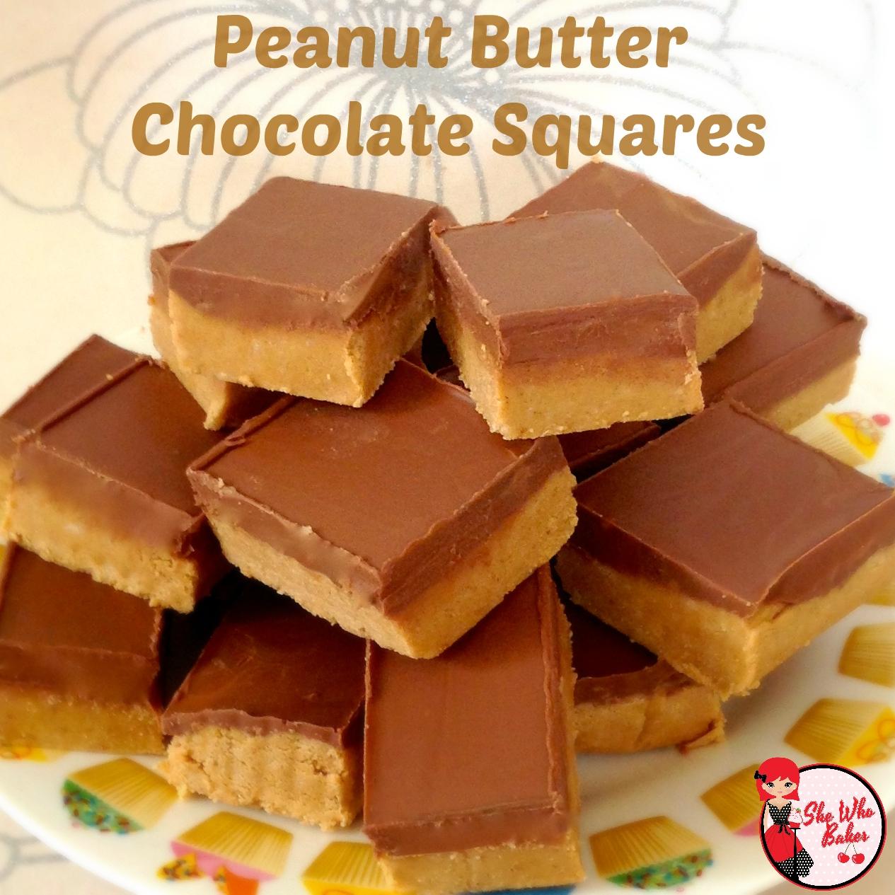 Chocolate Peanut Butter Squares Recipe — Dishmaps